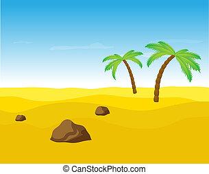Palm trees in the desert.