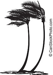 Palm trees in the wind - black and white vector illustration...
