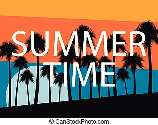 Palm trees on a sunset background. Summer time. Tropical landscape, beach vacation. Vector illustration