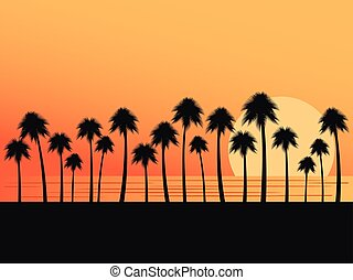 Palm trees on a sunset background. Tropical landscape, beach vacation. Vector illustration