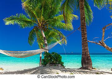 Palm trees on a white sandy beach at Plantation Island, Fiji, South Pacific