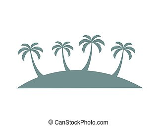 Palm trees on island