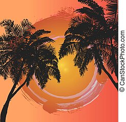 Palm trees on the background of the