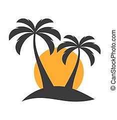 Palm trees onr island