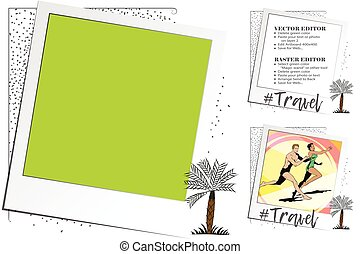 Palm trees. Rest by sea. Frame for scrapbook, banner, sticker, social network.