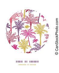 Palm trees seamless circle decor pattern background