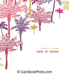 Palm trees seamless corner decor pattern background