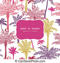 Palm trees seamless frame pattern background