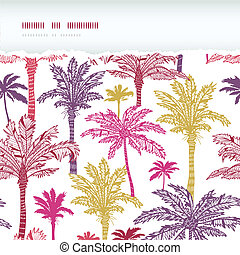 Palm trees seamless horizontal torn pattern background
