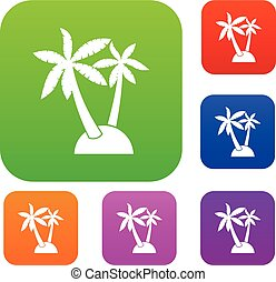 Palm trees set collection