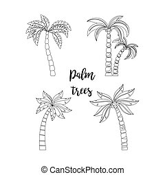 Palm trees set for coloring book