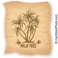 Palm Trees Silhouettes on Old Paper