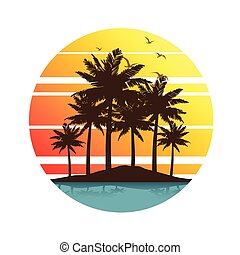 Palm trees sunset - Tropical palm trees island silhouettes ...