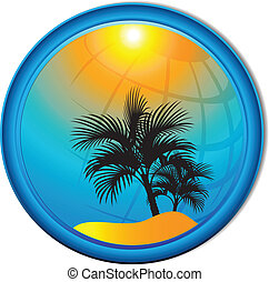 Palm trees tourism background Button. Vector