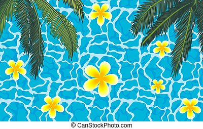 Palm trees with flowers on the background of the pool