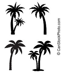 palm tropical tree set icons black silhouette vector...