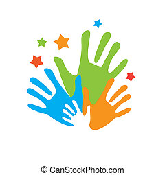 palm-unity - Sign of friends. Vector symbol uniting...