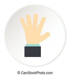Palm up icon, flat style