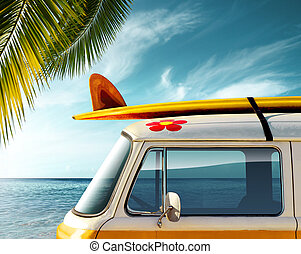 Palm Van - Detail of a vintage van in the beach with a...