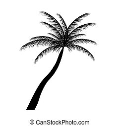 palm, vector, silhouette, illustration., bomen.
