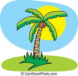 palm, vektor, träd
