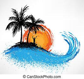 palm, wave., ondergaande zon , bomen, oceaan