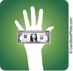 Palm with dollar bill