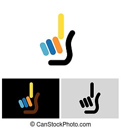 palm with index finger as one concept vector icon