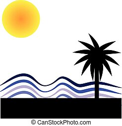 Palm with sun on white background