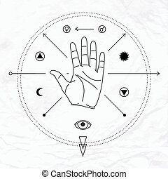 Palm with symbols - Vector linear illustration of open hand...