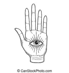 Palm with the Eye of Providence. Masonic symbol. All seeing eye with divergent rays on palm. Black tattoo. A symbol of the occult, magic, astrology, religion, spiritualism.