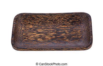 Palm wood dish isolated on white background