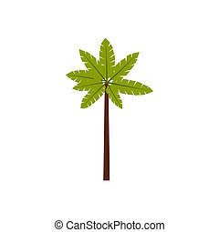 Palm woody plant icon, flat style