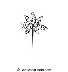 Palm woody plant icon, outline style