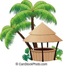 palma, barra, bungalow, árboles