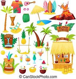 palma, bianco, vacanza tropicale, sunbed, spiaggia, vettore, isolato, fondo, esotico, illustrazione, maschera, hawaiano, cocktail, fruity, estate, hawai, o, surf, icone, set, hula, tiki