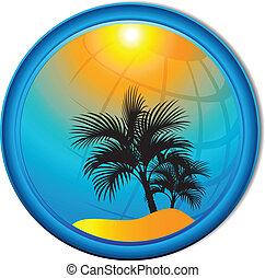 palma, butto, fundo, árvores, turismo