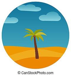 palma, caricatura, paisagem, natureza