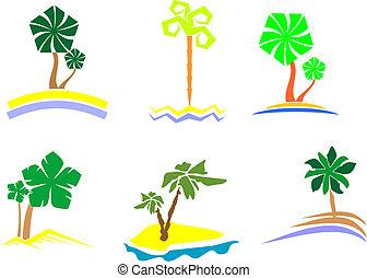 palma, conjunto, árbol