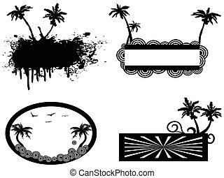 palma, cornice, albero