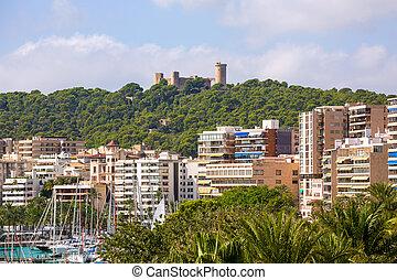 Palma de Majorca skyline with Bellver castle in Mallorca