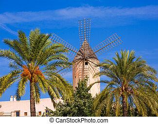 Palma de Majorca windmills wind mill in Mallorca Balearic...