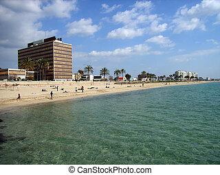 Palma de Mallorca Beach - Modern and big offices building...