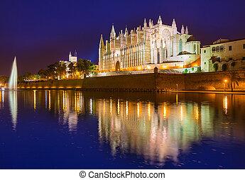 Palma de Mallorca Cathedral Seu sunset Majorca - Palma de...
