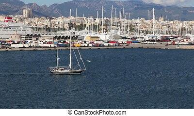 Palma de Mallorca harbor filmed fro - DSLR Full HD...