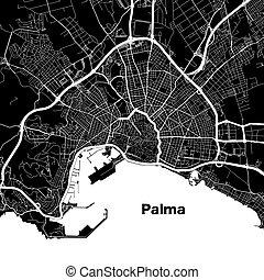 Palma de Mallorca urban vector map. White Highways and City...