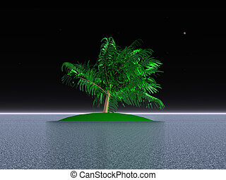 palma, en, un, deserte isla