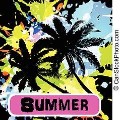 palma, fundo, verão, árvores