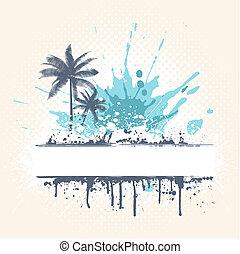 palma, grunge, árboles