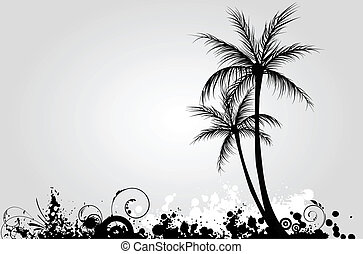 palma, grunge, árboles, plano de fondo